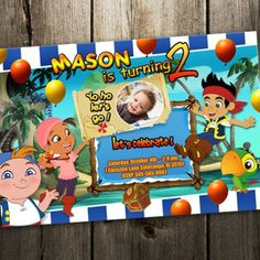Jake and the Neverland pirates Invitation birthday party photo invi...... | upadesigns - Digital Art on ArtFire