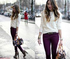 Louis Vouiton Speedybag Cherryblosson, New Look Purple/Pink Pants, Zara Teddy Beer Sweater, New Look Leopard Ankle Boots, Versace Vintage Belt