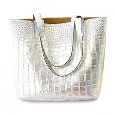 Trendy Crocodile Print and Solid Color Design Women's Shoulder Bag