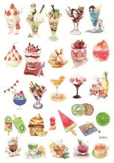 Stickers Cool, Food Stickers, Kawaii Stickers, Dessert Illustration, Watercolor Illustration, Desserts Drawing, Chibi Kawaii, Scrapbooking Photo, Arte Do Kawaii