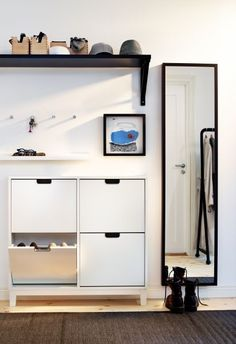IKEA - STÄLL, Shoe cabinet with 4 compartments, white, Helps you organize your shoes and saves floor space at the same time. The cabinet only has legs at the front so it can stand close up to the wall above the baseboard. of 8 pairs of shoes. Entryway Shoe Storage, Ikea Storage, Entryway Decor, Paint Storage, Storage Racks, Entryway Ideas, Organized Entryway, Hallway Ideas, Shoe Cabinet Entryway