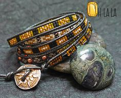 Stunning Gypsy Leather and Bead Wrist Wrap by OhlalaJewelry