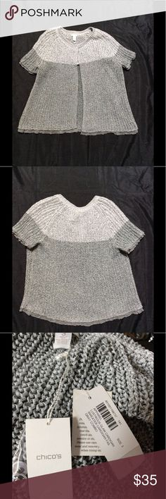 """Chicos Lustrous Glam cardigan Sz. 3 Pristine new single snap closure open weave sweater. Metallic gray and silver polyester and Nylon blend. No snags or tears. Bust: 23"""" across. 27"""" long. Chico's Sweaters Cardigans"""