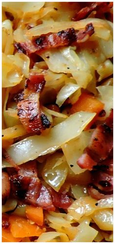 Cabbage with Bacon & Onions Fried Cabbage with Bacon & Onions ~ Quick and easy and delicious.Fried Cabbage with Bacon & Onions ~ Quick and easy and delicious. Veggie Side Dishes, Vegetable Dishes, Side Dish Recipes, Food Dishes, Sprouts Vegetable, Beans Vegetable, Dinner Side Dishes, Vegetable Curry, Best Side Dishes