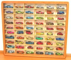 Hot Wheels Display Cases, Matchbox Display Case, Johnny Lightning display and other scale die cast car display Matchbox Car Storage, Hot Wheels Bedroom, Cafe Display, Hot Wheels Display, Trendy Bedroom, Diy Storage, Boy Room, Legos, Woodworking Plans
