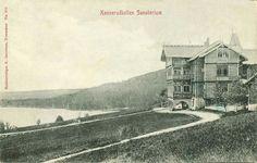 Konnerudkollens sanatorium, bygd i 1898 Konnerudkollens sanatorium ble bygd som tuberkulosesanatorium i sveitserstil og ble ombygd flere ganger for å fylle mange funksjoner. Fra 1920 var det turisthotell og ble et meget populært utfartssted. I 1926 var det sentralt i arrangementet av NM på ski og hadde kong Haakon VII på besøk. Bygningen ble totalskadd i brann i 1926  Foto: Jacobsen