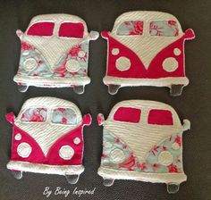 Handmade VW Campervan Coasters. We had a brand new VW Van. We moved from Minneapolis, MN. to Spokane, WA