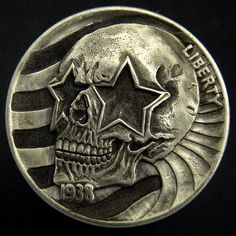 TIM WOLF HOBO NICKEL - STARS AND STRIPES SKULL - 1938 BUFFALO NICKEL