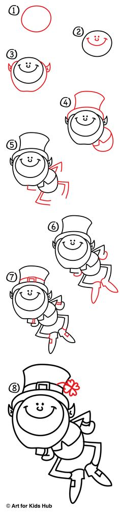 Simple step by step instructions on how to draw a leprechaun just for kids! Watch the short video and download the printable.