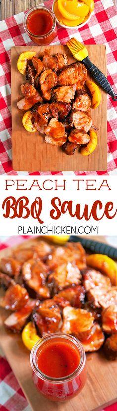 Peach Tea BBQ Sauce - quick homemade BBQ sauce that is ready in 10 minutes! Peach tea , ketchup, cider vinegar, dijon mustard, brown sugar, salt and pepper. BEST BBQ sauce I've ever eaten! LOVE the peach tea! Crazy good! Great on pork, chicken, ribs and smoked sausage.