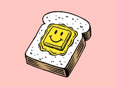 Buttered toast design 10 gif dribbble - i l l u s t r a t i o n - # Graphic Design Posters, Graphic Art, Retro Graphic Design, Animation, Oprah Winfrey, Motion Design, Smiley, Digital Illustration, Art Inspo