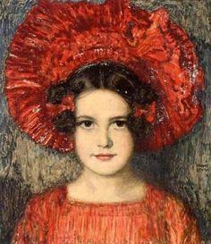 Franz von Stuck (German, 1863-1928) ~ Portrait Of Artist's Daughter, Mary  #art  #painting
