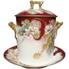 Antique Limoges Jam Set  Flowers D & C France