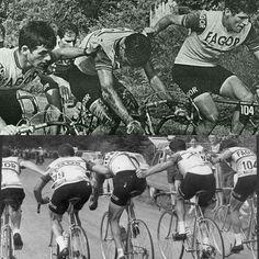 Ocaña ayudado por sus compañeros del FAGOR tras una caída en el Tour de 1969