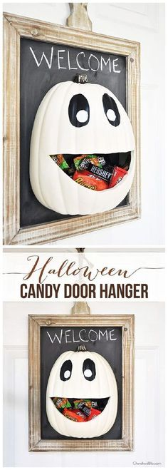 DIY Halloween Candy Pumpkin Face Door Hanger Decoration | Cherished Bliss = Spooktacular Halloween DIYs, Crafts and Projects - The BEST Do it Yourself Halloween Decorations