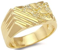14k Solid Yellow Gold Mens Ladies Large Nugget Ring New - Listing price: $765.00 Now: $425.00
