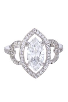 Sterling Silver Micro Pave Simulated Diamond Marquise Ring