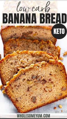 Low Carb Sweets, Low Carb Desserts, Healthy Desserts, Low Carb Recipes, Cooking Recipes, Paleo Banana Bread, Banana Bread Recipes, Low Carb Bread, Low Carb Keto