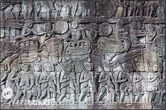 Bas relief at the Bayon Temple showing Khmer warriors, Angkor Thom, Cambodia 1 Century, Religion, Khmer Empire, Angkor Wat, Sculpture, Asian Art, Civilization, Egypt, Temple