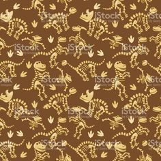 Seamless, Tileable Vector Pattern with Dinosaur Bones and Fossils royalty-free stock vector art
