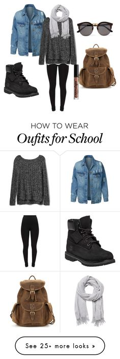 """School"" by babifialho on Polyvore featuring LE3NO, Gap, Illesteva, Witchery, NYX and Timberland"