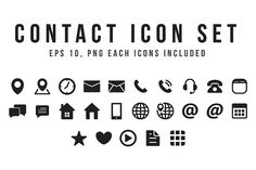 Black Contact Icon Set by yellowline on @creativemarket