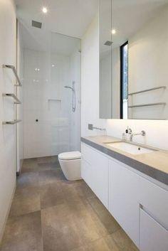 How to Draw the Long Narrow Bathroom Layout - Home Interior Design Bathroom Floor Plans, Bathroom Flooring, Bathroom Beadboard, Bathroom Cabinets, Wood Flooring, Bathroom Design Inspiration, Bathroom Interior Design, Long Narrow Bathroom, Bathroom Small