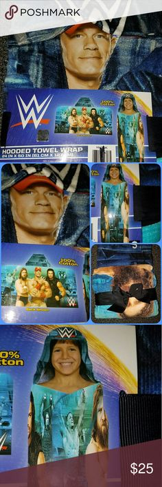WWE World Wrestling Entertainment John Cena New WWE World Wrestling Entertainment Hooded Towel, Beach Wrap, Bath Towel, Play Towel, Dress Up. WWF, WWE John Cena Fans, Must have for any WWE Fan!  All items are from clean, smoke free, animal friendly home. Check out my other closet, ChestsofTreasures, full of New and PreLoved Antique,Vintage Collectibles, Decor, Toys, Linens and Hard to Find items! WWE Swim