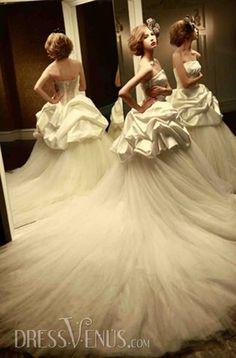 Luxurious A-line Strapless Wedding Dress.