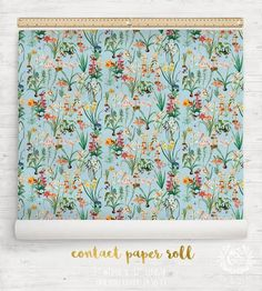 Peel and Stick Contact Paper for Decor Crafts, Antique Wildflowers, Watercolour Floral Botanical. Swatch or Order Custom Rolls. Floral Watercolor, Watercolour, Contact Paper, Decor Crafts, Home Decor, Surface Pattern Design, Kid Spaces, Kids Room, Dragonflies