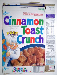 1991 General Mills Cinnamon Toast Crunch Cereal Box Wendell Gummies. >>>via pinner.   Use to eat almost the whole box every morning and watch ads of the original 3 guys including Wendell.  The box is much like the one I was use to seeing with the General  & Mills at the upper left side. Use to get excited when there was some prize at the bottom. Childhood Memories 90s, Crunch Cereal, Cinnamon Toast Crunch, General Mills, Teen Stuff, Breakfast Cereal, Get Excited, Nostalgia, Angel