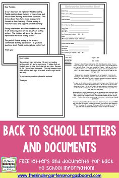 Social Media Release, Flexible Seating Letter, Our Schedule, Sight Word List and more! Use these actual documents or use them as a template for your own documents to send home at the beginning of the year and/or meet the teacher night! Kindergarten Parent Letters, Kindergarten Classroom Organization, Welcome To Kindergarten, Welcome Back To School, Teaching Kindergarten, Student Learning, Classroom Ideas, Classroom Design, Future Classroom