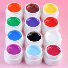 12 Color Pure UV lamp Gel Builder Nail Art Polish Kit False Tips Acrylic