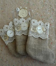 Button and lace linen stocking. These would be adorable tree ornaments! - Trading Stocks - Ideas of Trading Stocks - Button and lace linen stocking. These would be adorable tree ornaments! Burlap Ornaments, Button Ornaments, Burlap Crafts, Diy Christmas Ornaments, Homemade Christmas, Christmas Projects, Christmas Crafts, Stocking Ornaments, Stocking Tree
