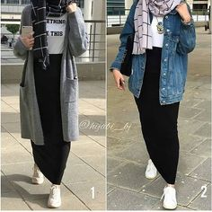 Which outfit is your favorite? 1 or 2 ? 🖤  Follow @hijabstyle.modern