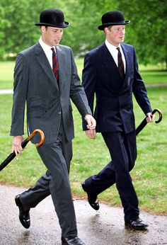 The Princes ~ Perfect picture! The hats, the umbrellas, and even stepping in time!