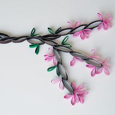 This pretty cherry blossom branch is made from recycled cardboard tubes.