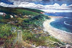 This iconic view of Yallingup looking back from Rabbit Hill was a coloured pencil drawing on a black leathercraft paper. Well known by the locals Leather Craft, The Locals, Colored Pencils, Pencil Drawings, Evans, Rabbit, Mountains, Paper, Interior