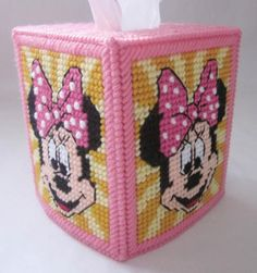 Plastic Canvas Tissue Box Patterns | Minnie Mouse tissue box cover in plastic canvas PATTERN by AuntCC