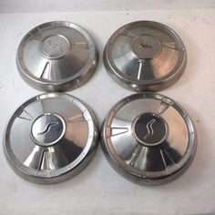 Set 4 Mid '60s Studebaker Dog Dish Poverty Hub Caps Wheel Covers   #Studebaker Hub Caps, Wheel Cover, Dish, Car, Automobile, Plates, Cars, Plate