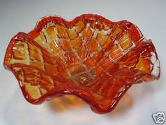 Decorative Art Glass Amberina Bowl Candy Dish Ruffled Edge Murano | eBay