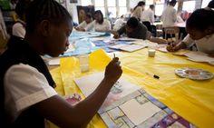children make their own manuscripts using period materials.  Fun comparison between websites and manuscript design.