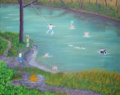 Swimming Hole Acrylic Painting Reproduction CANVAS 12X16 River Scenery Landscape Water Dog Innertube Boys Fun Rope Swing Nostalgia Campfire by ABrushOfLife on Etsy