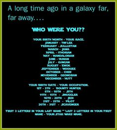 I made the Star Wars name thing so I'm Carro Magre, I'm a wookie and a scavenger.