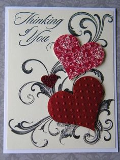 emboss with tiny dots and heart punch out, either stamp a punch out heat or punch colored paper. Stacy's new sympathy stamp set (Thinking of You).