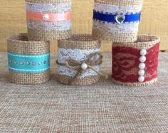 Burlap Napkin Rings for Holiday or Weddng shabby by BowTweetBabies
