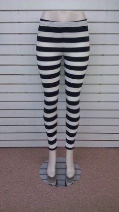 Black and White Stripe Horizontal Print Leggings 28a153a2ed5e