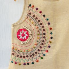 Golden spiral top - Tops & Shirts Women Apparel | World Art Community Hand Embroidery Dress, Hand Embroidery Videos, Embroidery On Clothes, Embroidery Flowers Pattern, Hand Embroidery Stitches, Embroidery Techniques, Beaded Embroidery, Simple Embroidery Designs, Creative Embroidery