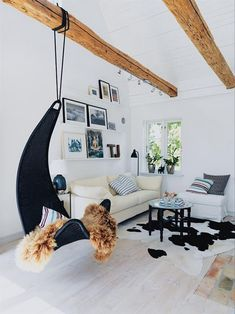 In the India apartment, the architect installed hooks in the ceiling where you hang a baby bassinet. I want to hang swinging chairs! ikea ps svinga for the veranda