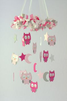 Owl Nursery Mobile in Pinks & Gray Baby Mobile by LoveBugLullabies
